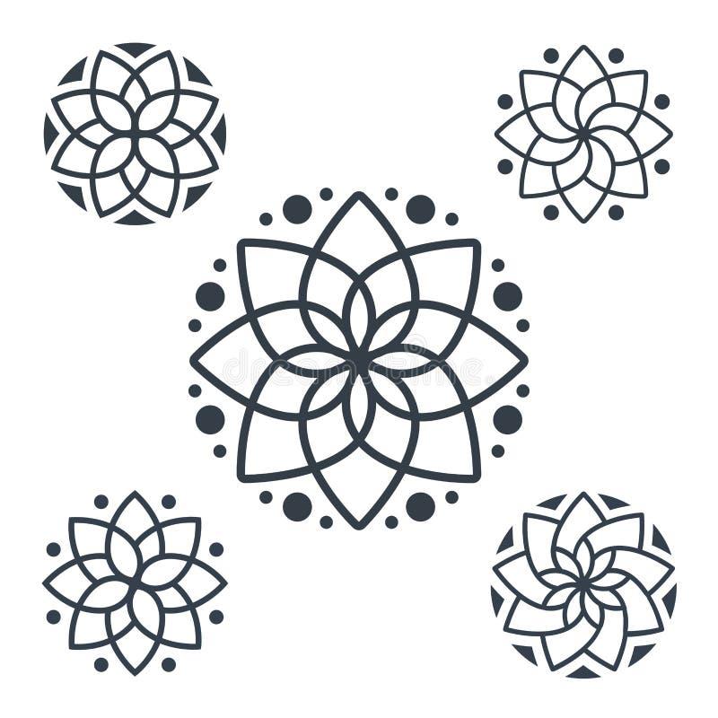 Prosty geometryczny mandala logotyp Kółkowy logo dla butika, kwiatu sklep, biznes, wnętrze ilustracji