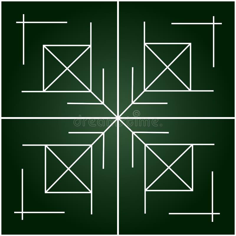 Prosty geometryczny maswerk na gradient zieleni tle ilustracji