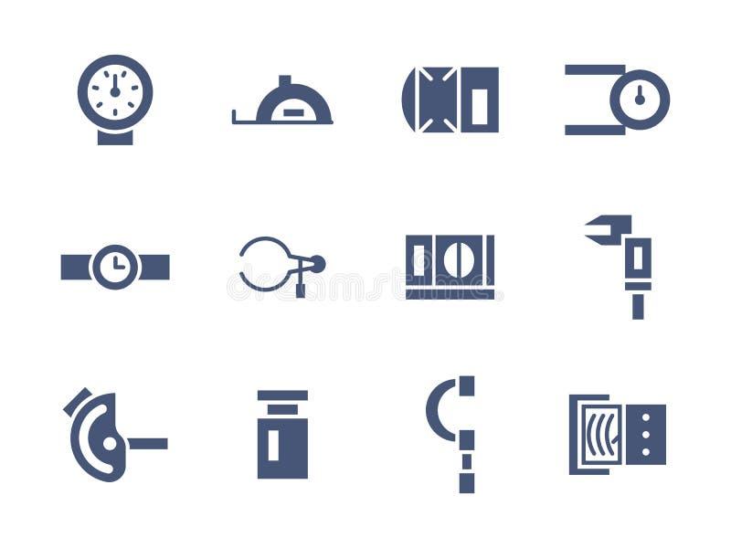 Prosty glif mierzy narzędzie ikony ustawiać ilustracja wektor
