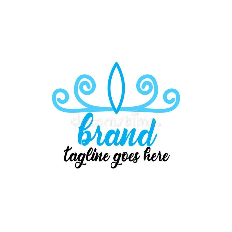 Prosty i atrakcyjny błękitny korona logo ilustracja wektor