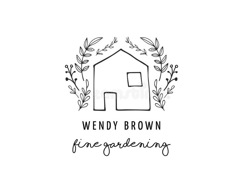 Prosty i elegancki nowożytny logo i ilustracja, domowa wektorowa ręka rysujący element ilustracji
