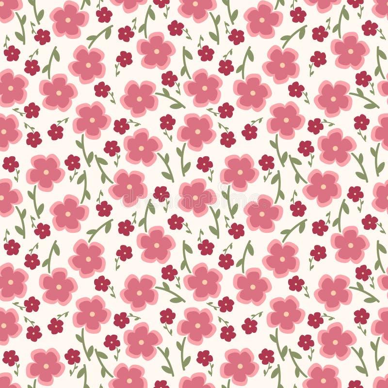 Prosty i piękno kwiatu bezszwowy wzór wektor royalty ilustracja