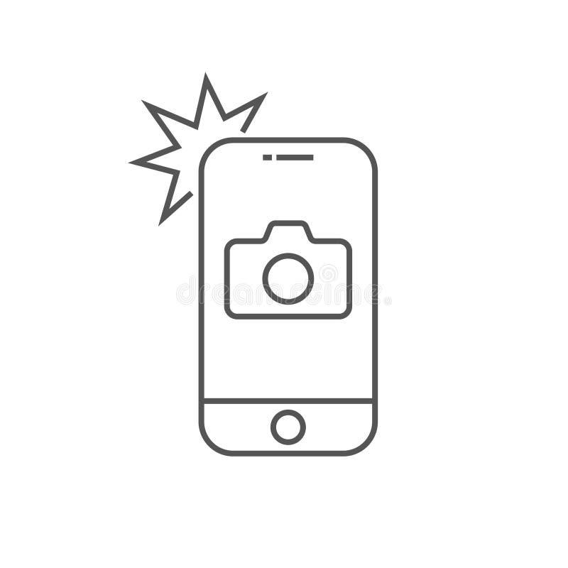Prosty ikony smartphone z kamerą i błyskiem Nowożytny telefon z fotografia znakiem dla sieć projekta Wektorowy konturu element ilustracji