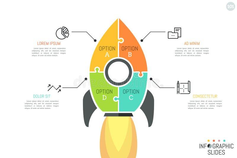 Prosty infographic projekta układ, wyrzynarki łamigłówka ilustracji