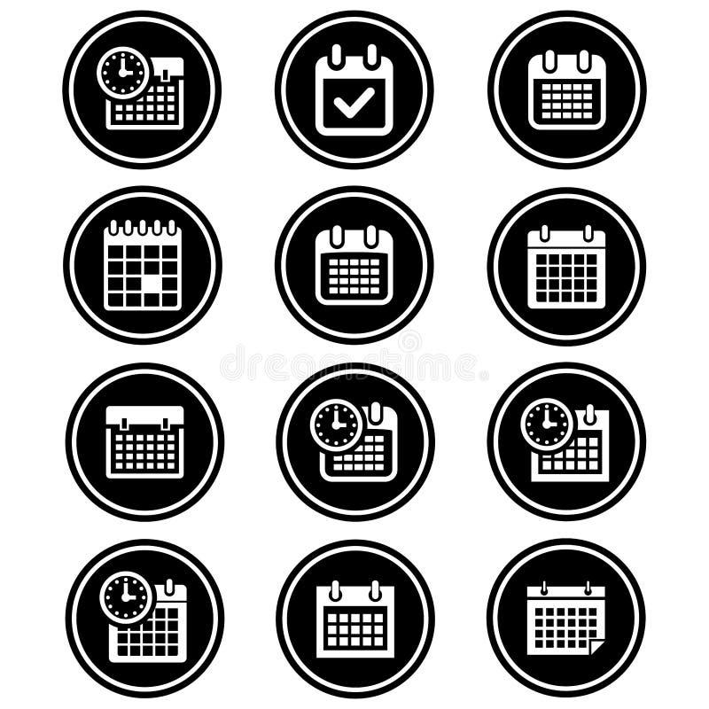 Prosty, kółkowy, monochrom ikony kalendarzowy set 12 ikona projekta royalty ilustracja