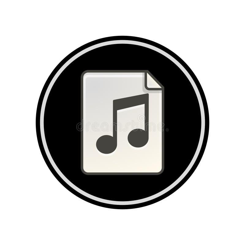 Prosty, kółkowy, płaski, czarny i biały dźwięk, muzyczna kartoteki ikona/ ilustracja wektor