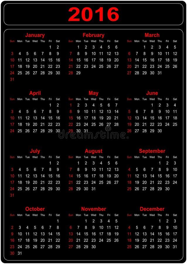 Prosty kalendarz 2016 ilustracji