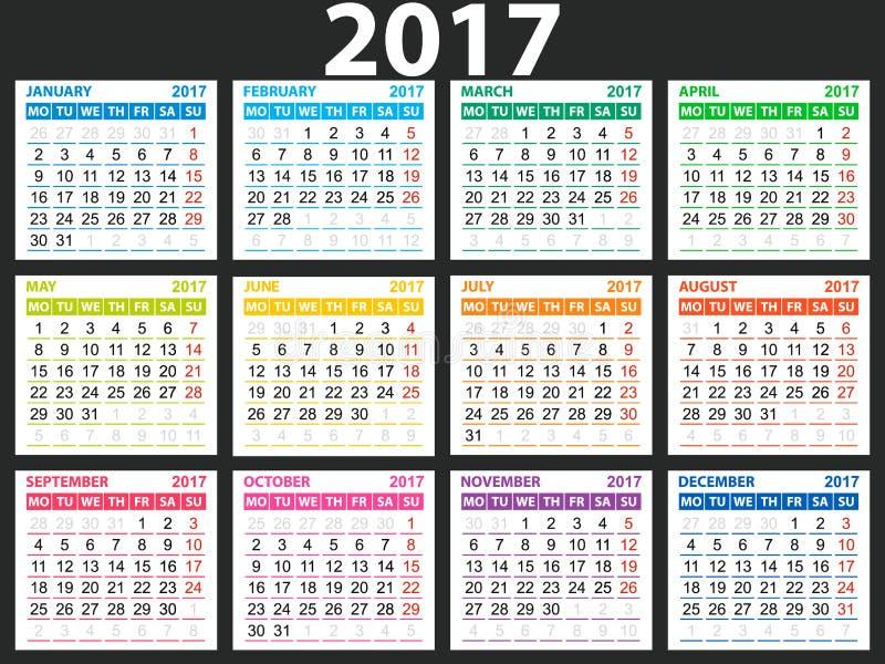Prosty kalendarz 2017 ilustracja wektor