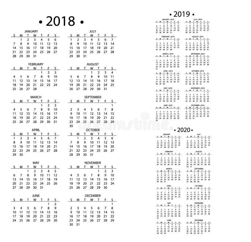Prosty kalendarz dla 2018 i 2019, 2020 rok szablon daty dnia projekta miesiąca organizatora planisty biznesowego wektoru ilustracji