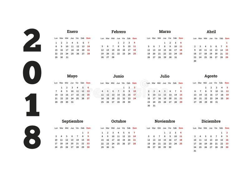 Prosty kalendarz na 2018 rok w hiszpańskim języku ilustracji