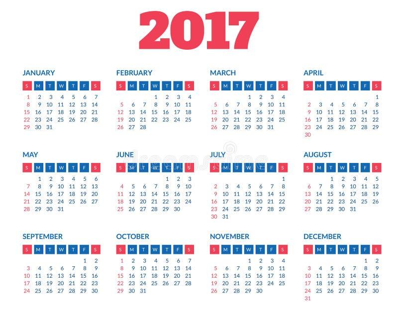 Prosty kalendarza 2017 szablon