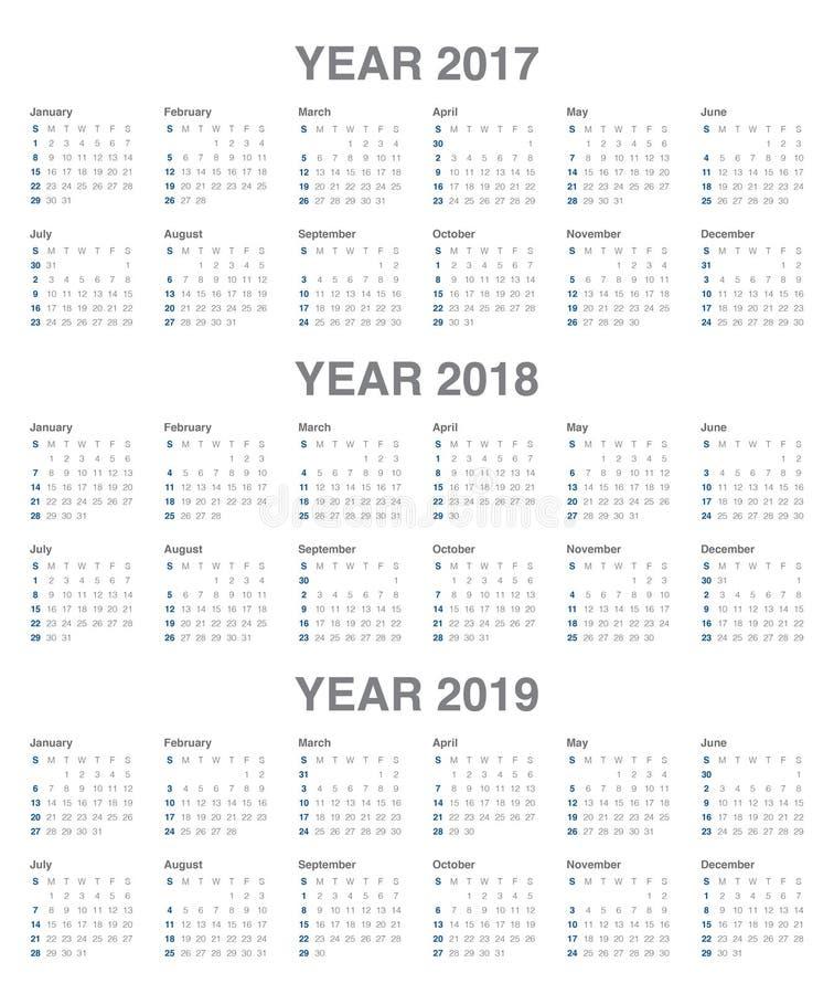 Prosty Kalendarzowy szablon dla 2017, 2019 royalty ilustracja