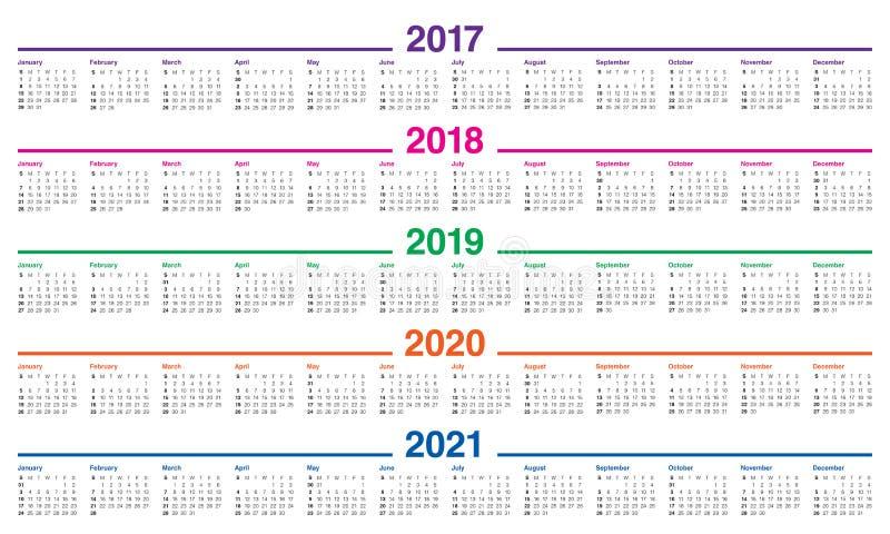 Prosty Kalendarzowy szablon dla 2017, 2021 ilustracja wektor