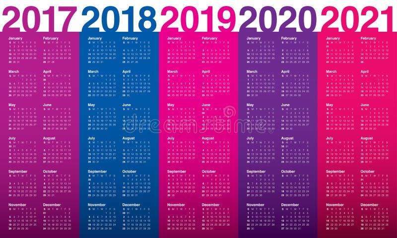 Prosty Kalendarzowy szablon dla 2017, 2021 royalty ilustracja
