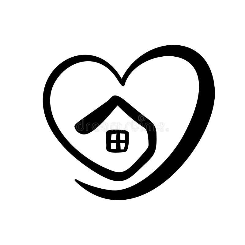 Prosty kaligrafia dom z sercem Istna Wektorowa ikona Pojęcie ochrona i wygoda Architektury budowa dla projekta sztuka royalty ilustracja