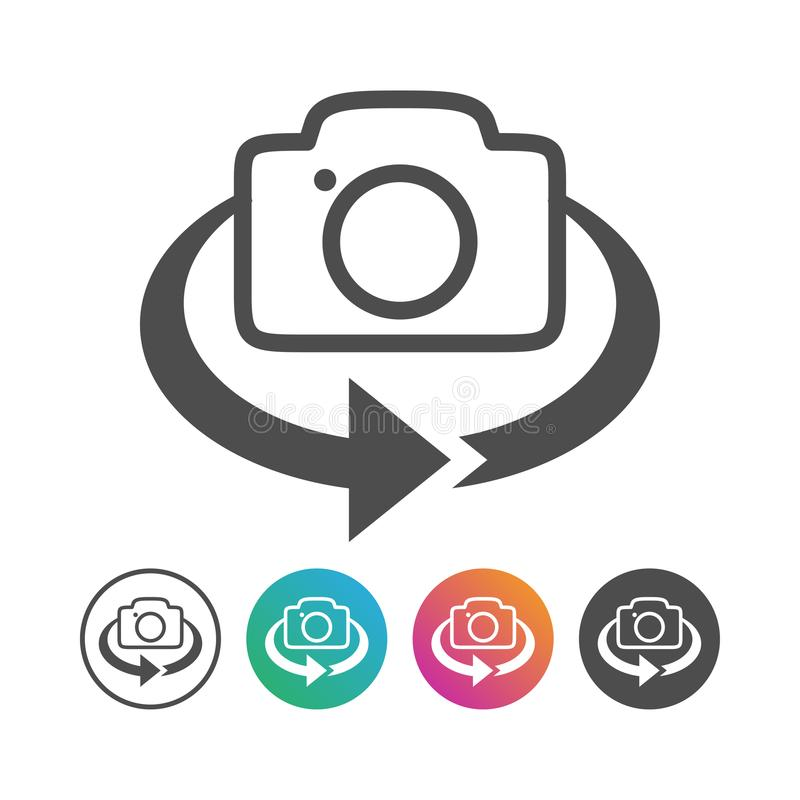 Prosty kamery 360 trzepnięcia ikony projekta set ilustracji