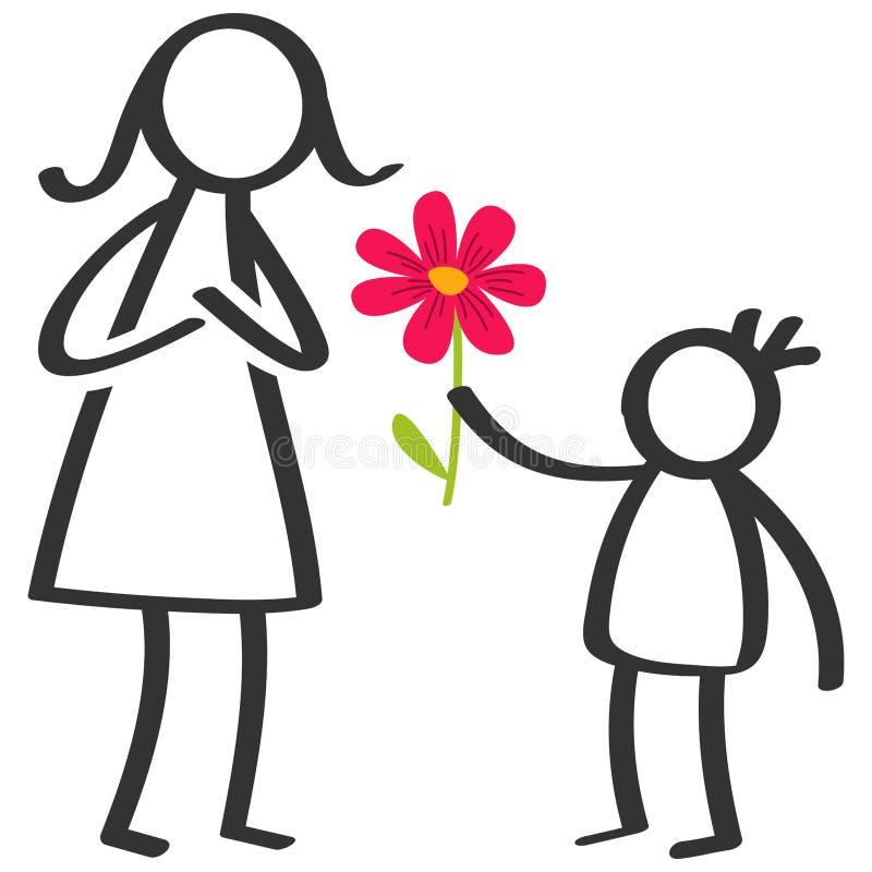 Prosty kij oblicza rodziny, chłopiec daje kwiatu matka na Macierzystym ` s dniu, urodziny odizolowywający na białym tle ilustracja wektor