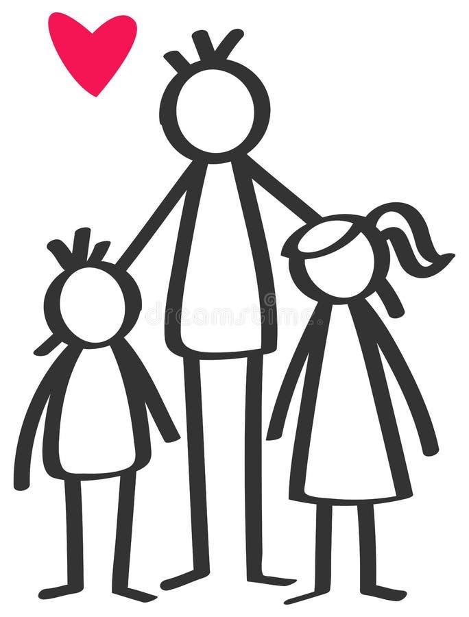 Prosty kij oblicza samotnego rodzica, ojciec, syn, córka, dzieci ilustracja wektor
