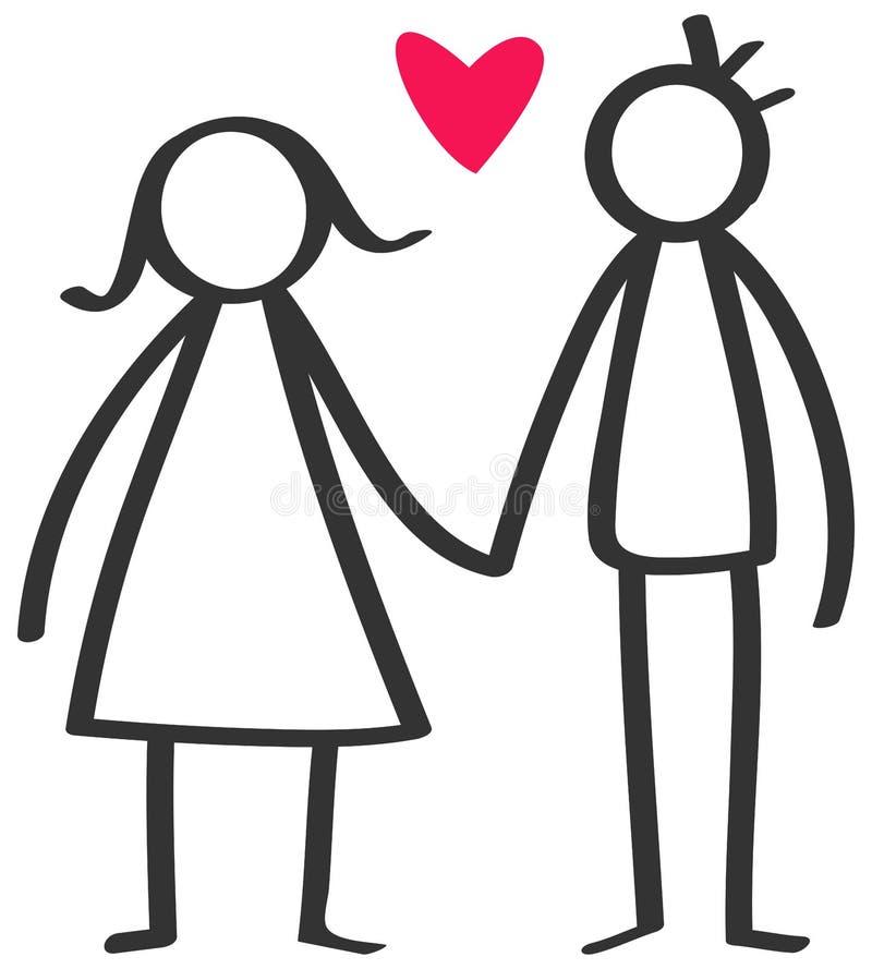 Prosty kij oblicza szczęśliwej pary, mężczyzna, kobiety mienia ręki w miłości czerwieni sercu ilustracji