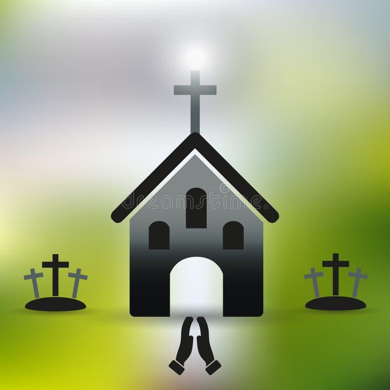 Prosty kościół chrześcijański z krzyżem i modleniem wręcza eps10 ilustracji