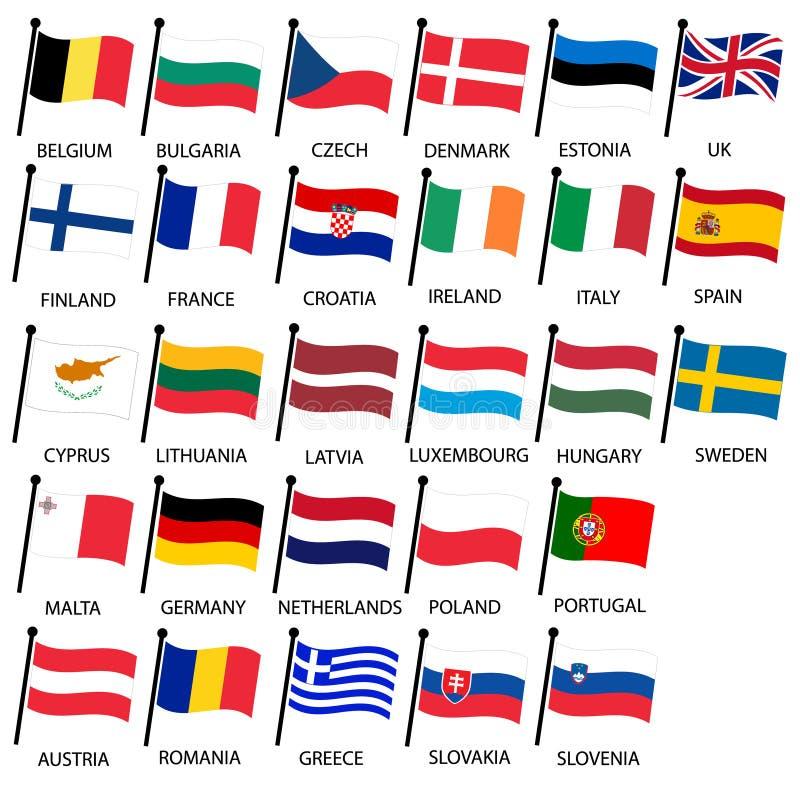 Prosty kolor wyginający się zaznacza wszystkie europejskiego zjednoczenia krajów kolekcję eps10 ilustracja wektor