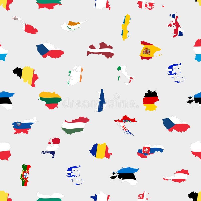 Prosty kolor zaznacza wszystkie europejskiego zjednoczenia krajów jak mapa bezszwowy wzór eps10 royalty ilustracja