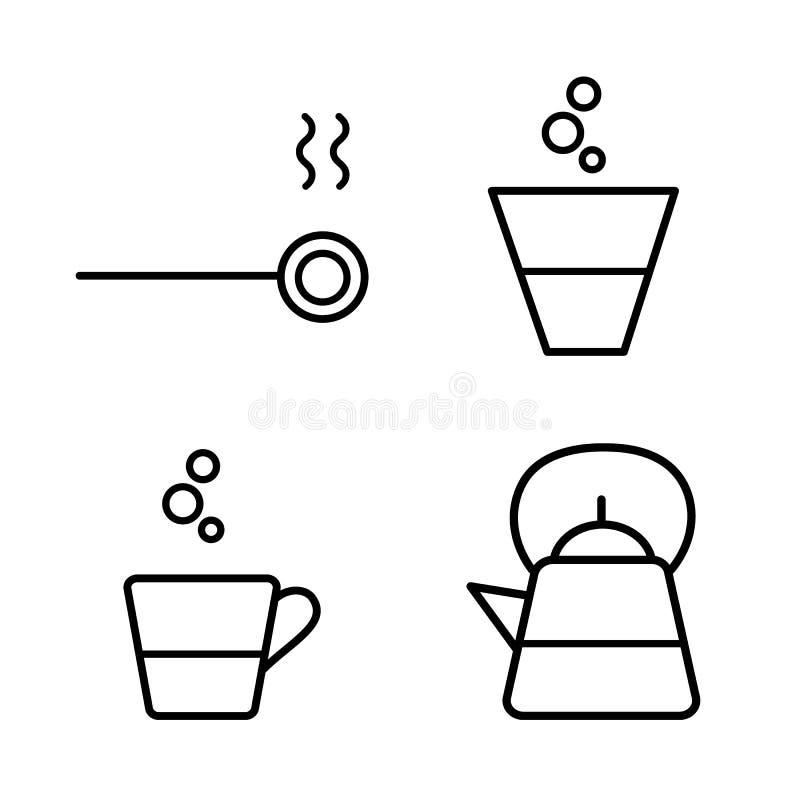 Prosty konturu piktogram restauracja, kuchnia, dom Czajnik, filiżanka, łyżka ilustracji