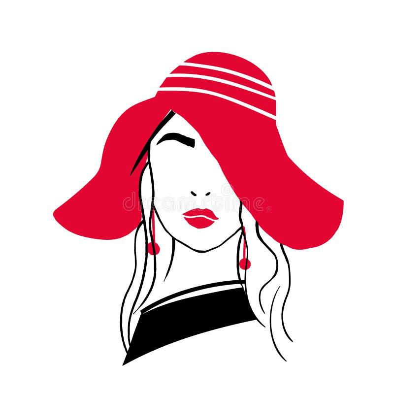 Prosty konturu portret piękna elegancka młoda dama Nakreślenie rysunek modna kobieta z czerwonymi wargami, kolczyki royalty ilustracja
