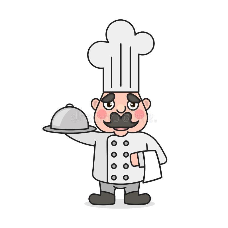 Prosty kreskówki samiec kucharz royalty ilustracja