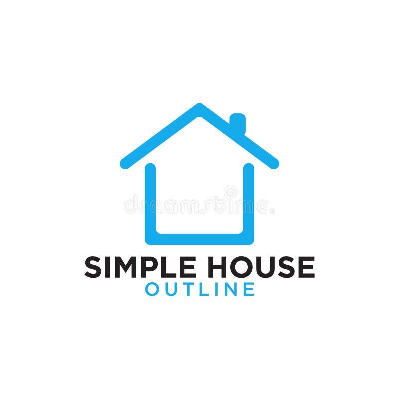 Prosty kreskowej sztuki błękita domu loga projekta szablon ilustracji