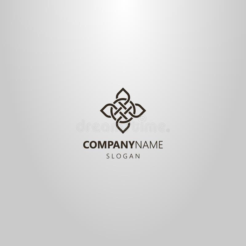 Prosty kreskowej sztuki wektorowy logo dwunawowy element celta ornament royalty ilustracja