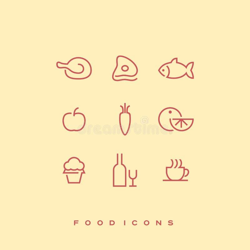 Prosty kreskowy wektorowy karmowy ikona set Kurczak, wołowina, ryba, jabłko, marchewka, pomarańcze, babeczka, butelka wino i wina royalty ilustracja