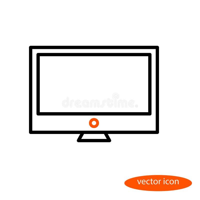 Prosty kreskowy wizerunek monitor z pomarańczowym władza guzikiem, liniowa ikona, płaski styl ilustracji