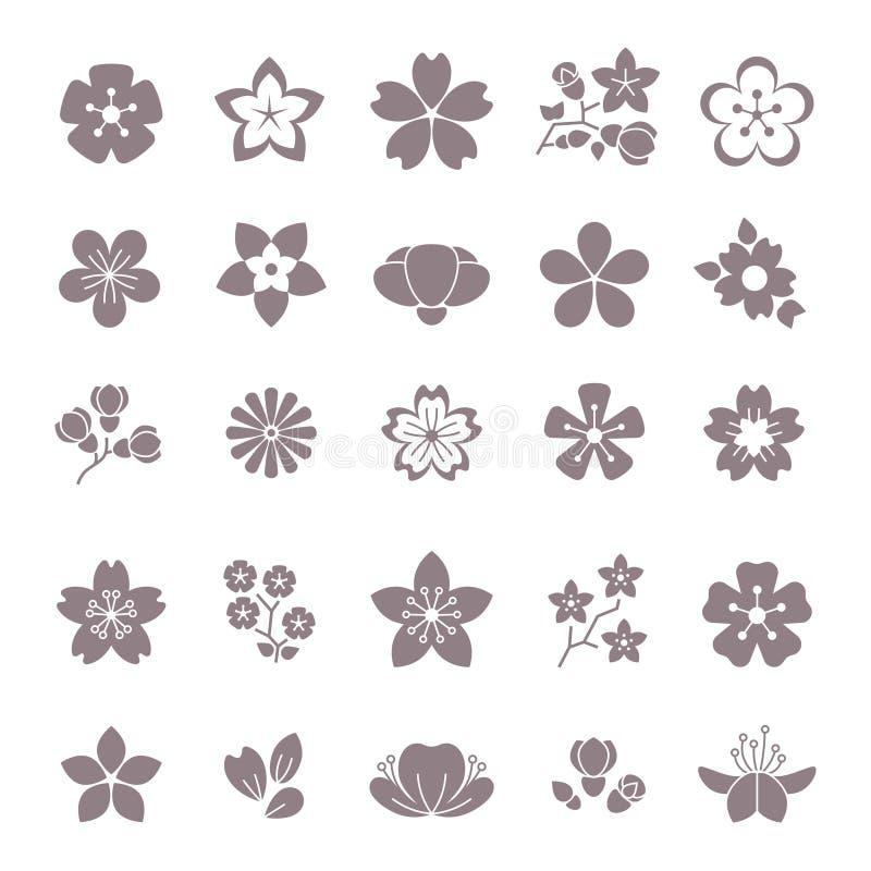 Prosty kwiat, kwieciste graficzne wektorowe ikony ustawiać ilustracja wektor