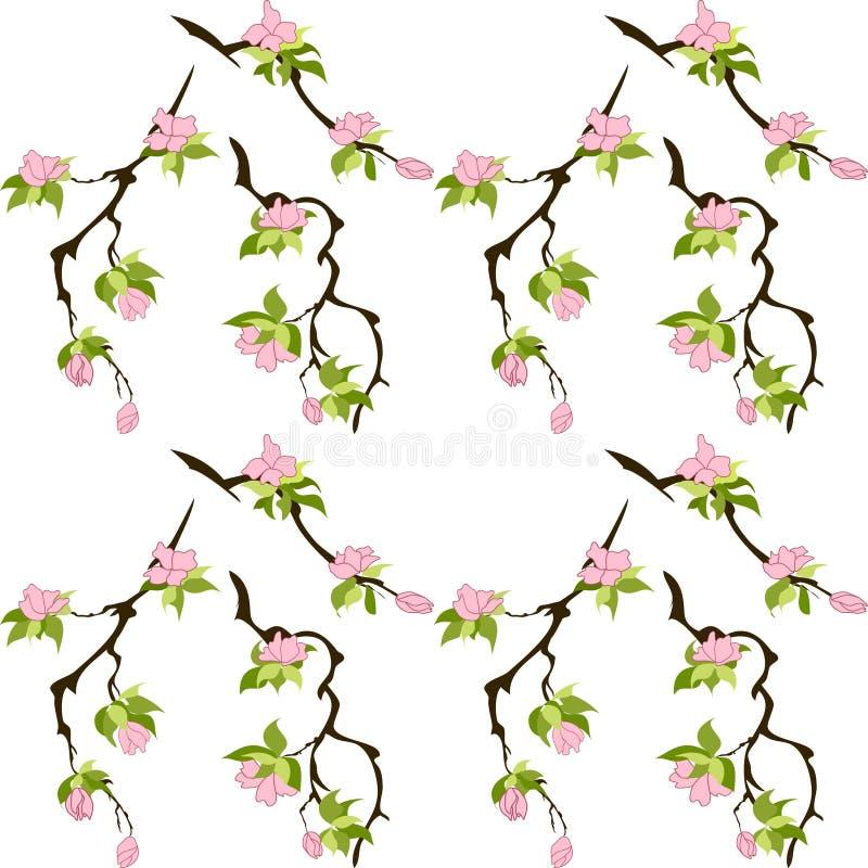 Prosty Kwiecisty Bezszwowy Wz?r Menchia kwiaty z zieleń liśćmi na brązie rozgałęziają się wiśnia, Sakura Elegancki szablon dla royalty ilustracja