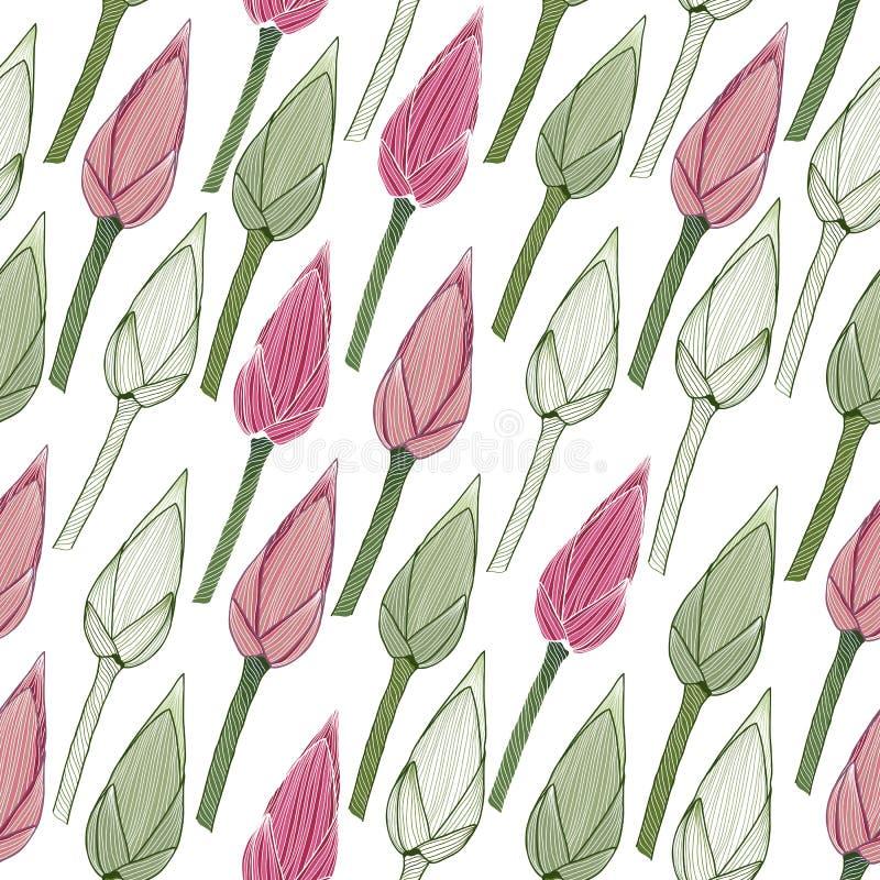 Prosty kwiecisty wzór bezszwowy Lotosowi pączki ilustracji