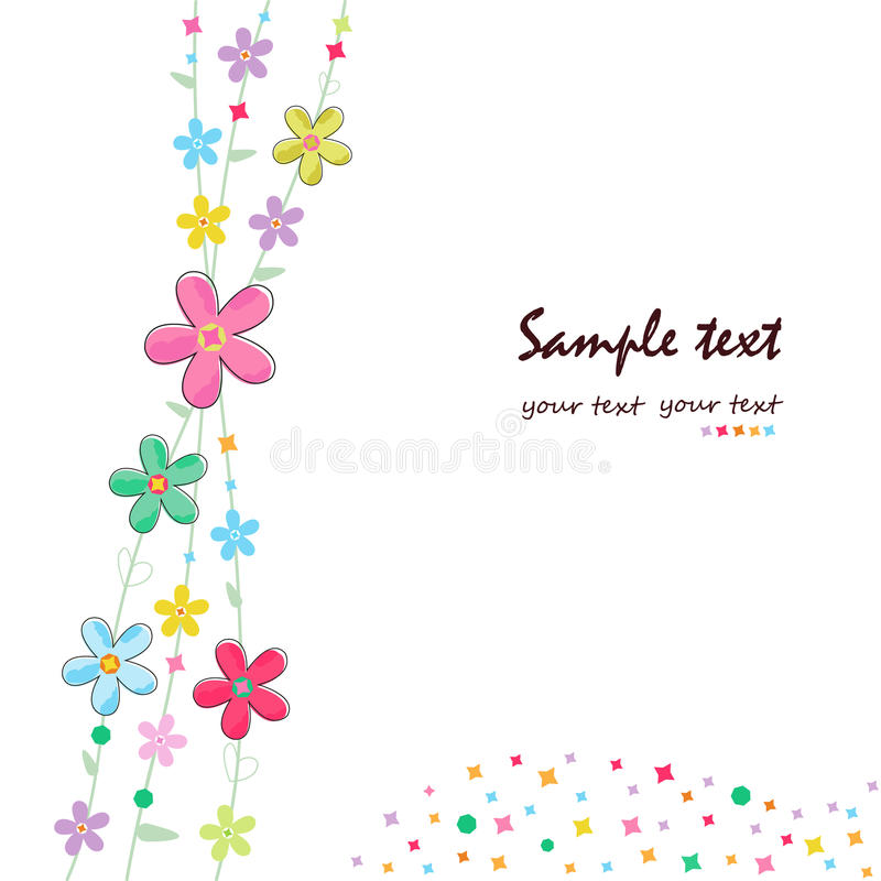 Prosty lato kwitnie dekoracyjnego kartka z pozdrowieniami ilustracji