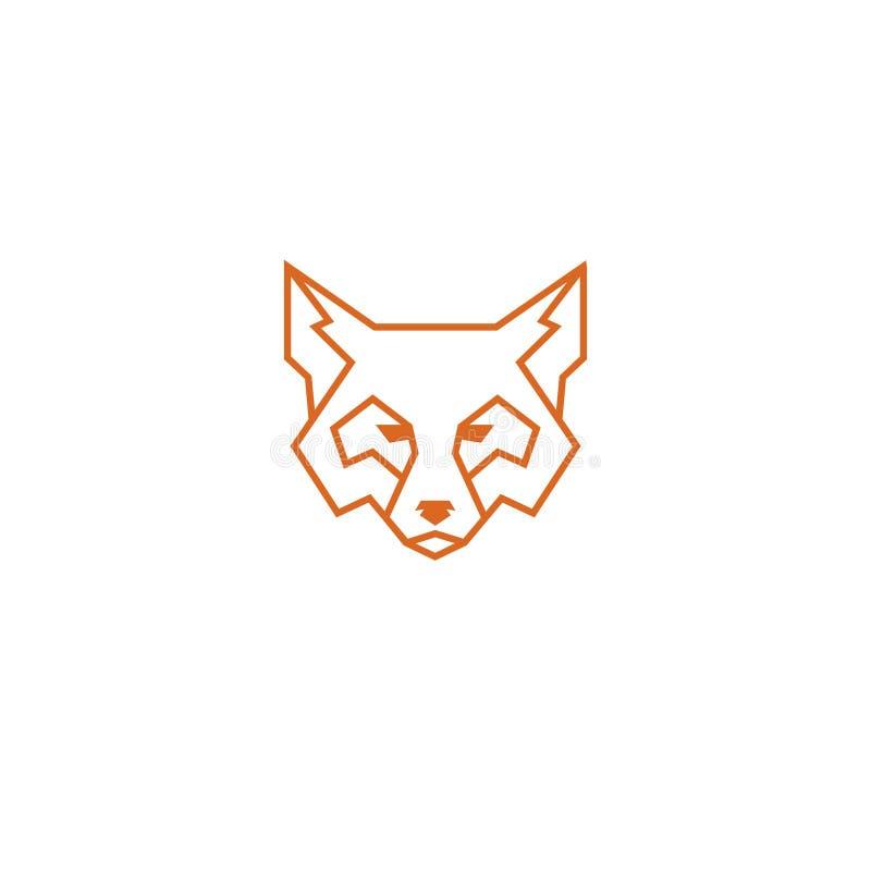 Prosty liniowy lis głowy logo odizolowywający ilustracji