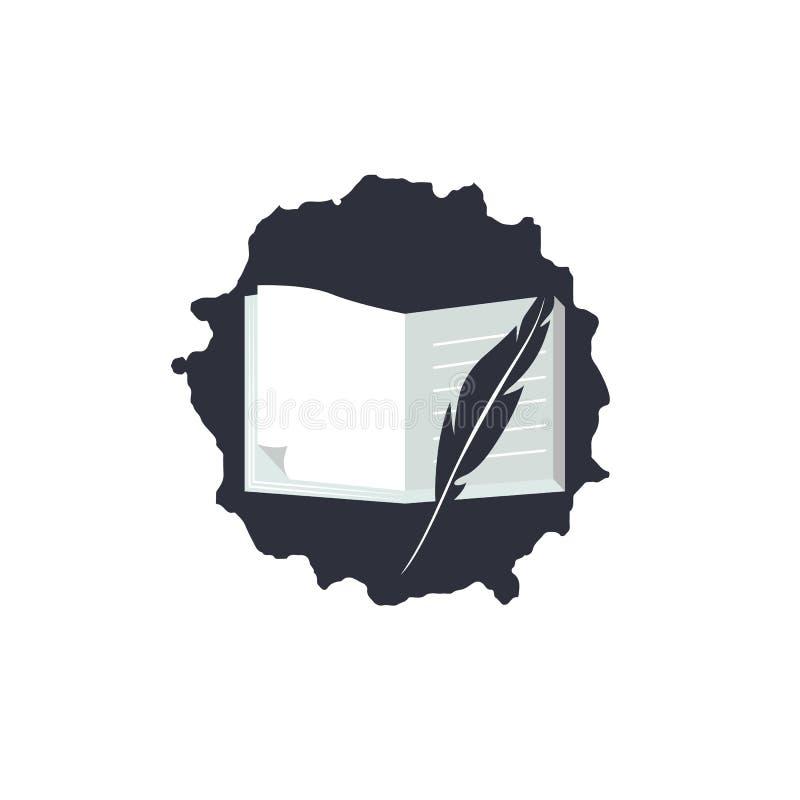 Prosty logo dla Światowego poezja dnia Ikona z tekstem, dutki piórem, jabłkiem i książkami, ilustracji