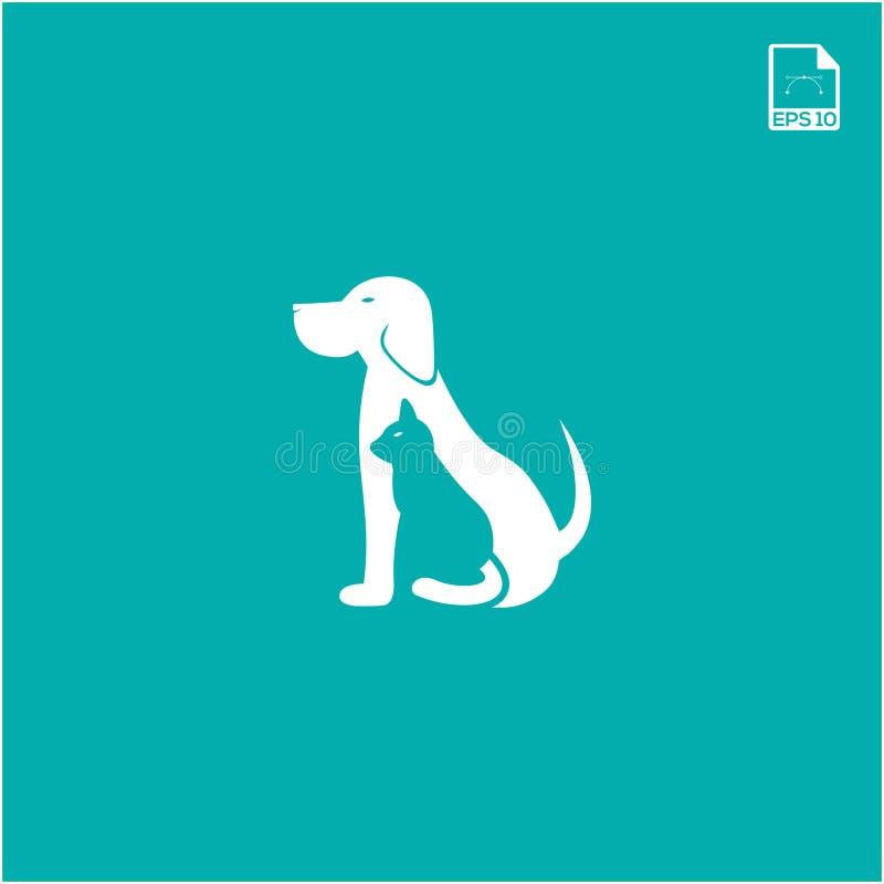 prosty logo pojęcia pies i kot dla petshop i zwierzęcia ikony ilustracji