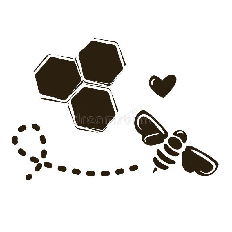 Prosty logo projekta szablon z pszczołą i honeycombs ilustracja wektor