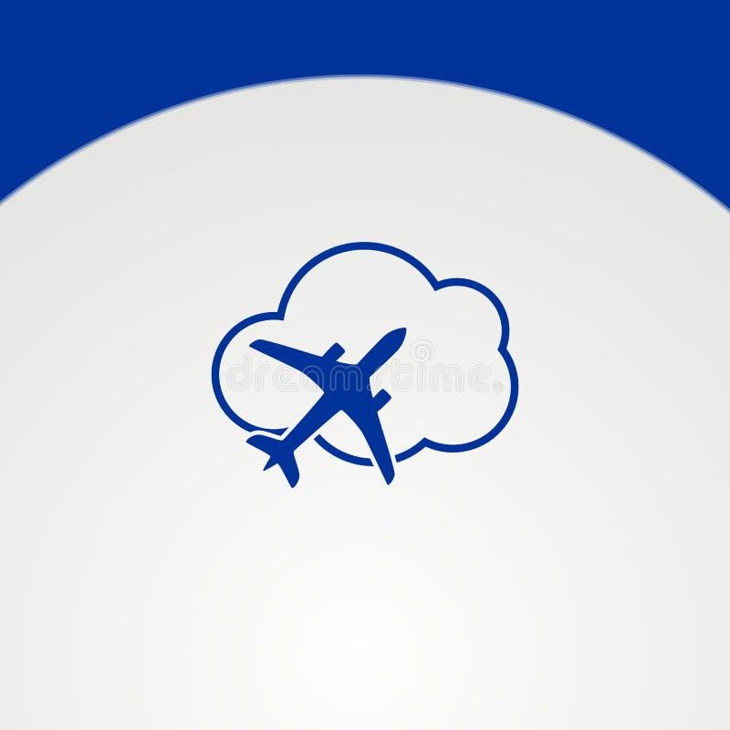 Prosty Lotniczego samolotu logo, elegancki płaski logo, minimalisty Płaski logo ilustracja wektor