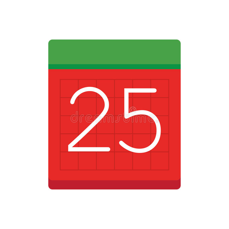 Prosty mieszkanie kalendarz z datą 25 ilustracja wektor