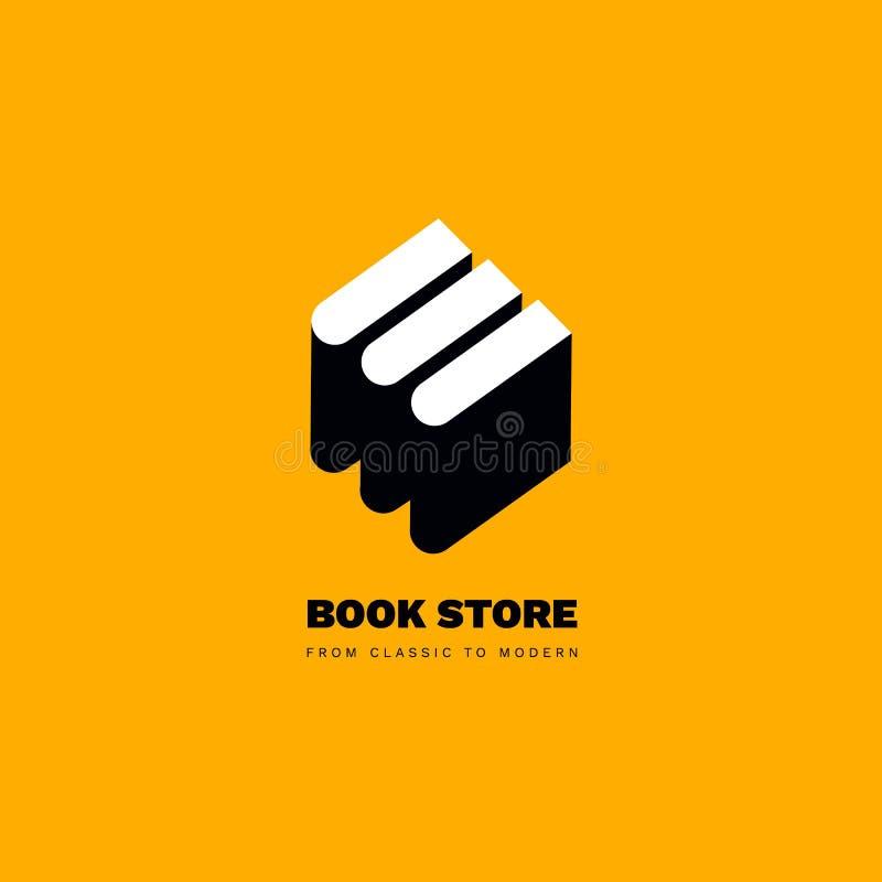 Prosty minimalistic logotyp książki Książkowego sklepu logo royalty ilustracja