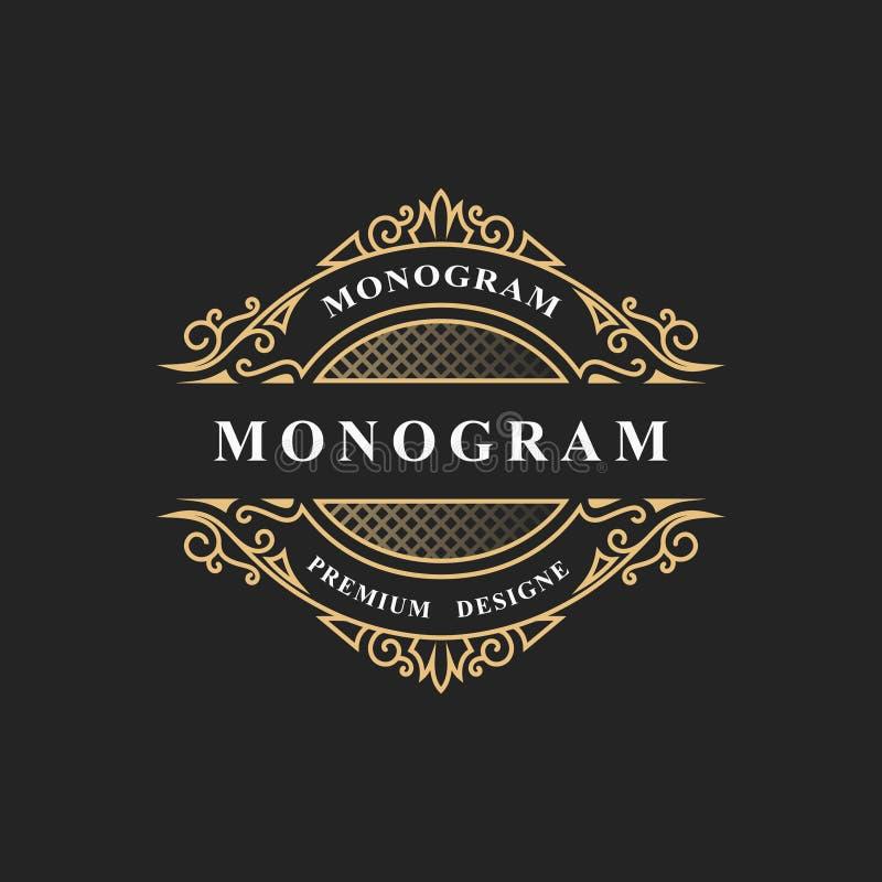 Prosty monograma projekt Luksusowy wolumetryczny loga szablon 3d linii ornament Elegancka rama dla biznesu znaka, odznaka, grzebi ilustracja wektor