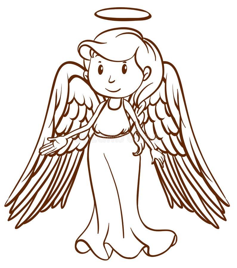 Prosty nakreślenie anioł ilustracja wektor