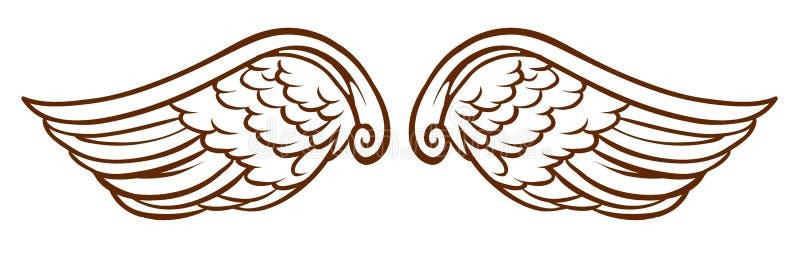 Prosty nakreślenie anioła skrzydła royalty ilustracja