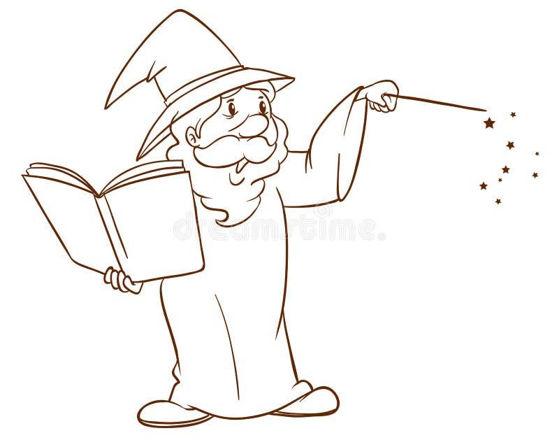 Prosty nakreślenie czarownik royalty ilustracja