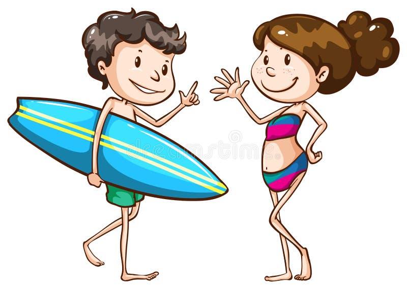 Prosty nakreślenie dwa ludzie iść plaża royalty ilustracja