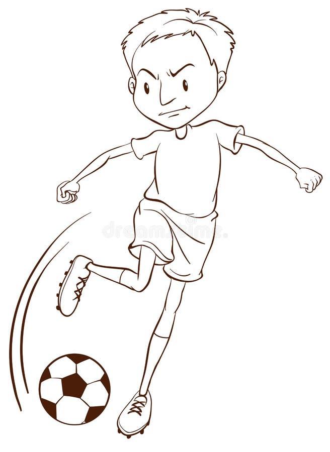 Prosty nakreślenie gracz piłki nożnej royalty ilustracja